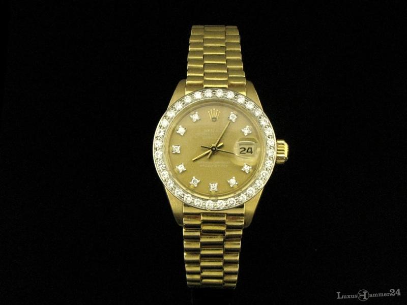 Armbanduhr rolex gold  ROLEX Oyster Perpetual Date just Damen-Armbanduhr aus 18 kt. Gold ...